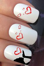 NAIL ART SET #618 x24 MANDANDO è mio LOVE HEARTS ADESIVO AD ACQUA DECALCOMANIE