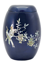 Glass Fibre Cremation Ashes Urn - Blue & Mother of Pearl Floral Bird Design