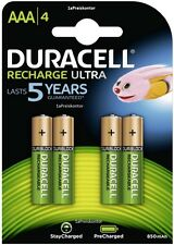 4x Batteria AAA Micro DURACELL Recharge ultra-stays charged - 850 Mah-blister