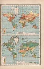 1920 MAP -POST WW1- THE WORLD -MEAN ANNUAL RAINFALL, VEGETATION
