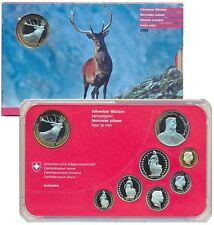 SWITZERLAND SCHWEIZ KMS OFFICIAL MINT SET 10 FRANCS BIMETAL DEER BUNC 2009