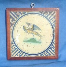 17thC Dutch Delft Polychrome Bird Framed Tile Wan-Li Corners Peacock Pheasant