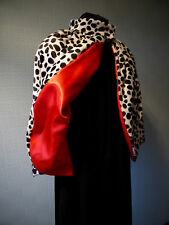 CRUELLA DE VILLE CAPE FANCY DRESS COSTUME IN DALMATIAN FAUX FUR WITH RED SATIN