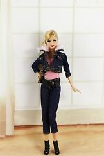 5in1 Set Denim Wear Clothes&Outfit Coat+jeans+vest+bag+shoes For Barbie Doll