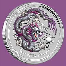 2012 AUSTRALIA LUNAR YEAR OF THE DRAGON 1 OZ SILVER COIN - SILVER DRAGON -