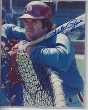 Pete Rose Autographed Baseball 8x10 Photo JSA COA Philadelphia Phillies