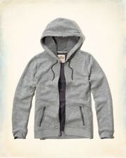 NWT Hollister By Abercrombie Iconic Textured Zip Up Hoodie Grey Sz M