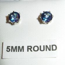 5MM 1.0CTW GENUINE NEPTUNE BLUE MYSTIC TOPAZ  STUD EARRINGS STERLING SILVER