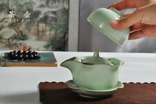 Ru Kiln  Kung Fu Tea Set Ceramic Travel  Quik Cup A Teapot +A Teacup+A Dish