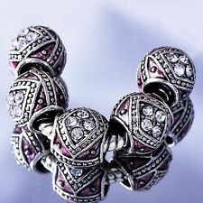5pcs Silver Spacer Stopper Crystal Beads Fit European Charm Bracelet Wholesale