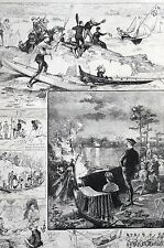 Canoe Convention 1883 Rogers  Matted Antique Print Engraving