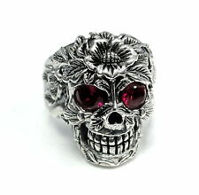Men's 14 K White Gold  Floral Skull  Ring With Rubies 2.20 ct.