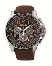New Seiko SSC279 Solar Sportura Chronograph Leather Strap Men's Watch