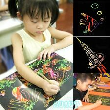 Popular Child Gift 10 Sheet Painting Paper Colorful Scratch Art Paper X'mas Gift