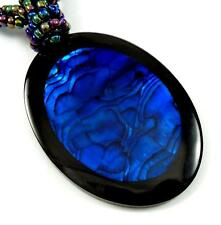 "Handmade 2.4"" Magnificent Blue Paua Abalone Shell Beads necklace 19"": BA367"