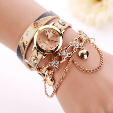 New Woman Watch Leather Rhinestone Rivet Chain Ladies Bracelet Quartz Wristwatch
