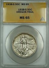 1938-S Oregon Trail Silver 50c Commemorative Coin ANACS MS-65 Lightly Toned DGH