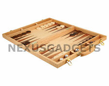 Backgammon Board Game Set 18 INCH Suitcase In Wood Inlaid Board Wooden Pieces FS