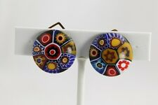 VINTAGE  UNUSUAL COLORS  MILLEFIORI Art Glass VENETIAN MURANO Button EARRINGS