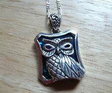 OWL DESIGN BLUE ABALONE PAUA SHELL 925 SILVER PENDANT CHAIN NECKLACE 18INS