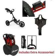 EXTRAS! New Clicgear 3.5 Golf Push Cart + BONUS! Charcoal Black 3 Wheel Pull