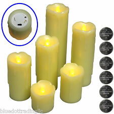 6 FLICKERING FLAMELESS LED PILLAR CANDLES Realistic Home Decor Accent Light 2-9'