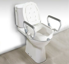 HOMCOM Portable Raised Toilet Seat Padded Lock Lid   Elevated w/ Arms NEW White