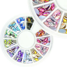 HOT AB 12 Colors Acrylic Oval Rhinestone Nail Art Decorations DIY Manicure Wheel