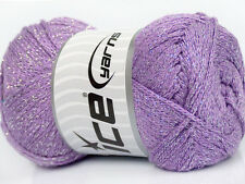 Lot of 4 x 100gr Skeins Ice Yarns METALLIC VISCOSE (93% Viscose) Wool Lilac S...
