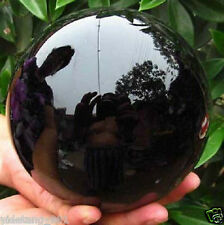 HOT SELL NATURAL OBSIDIAN POLISHED BLACK CRYSTAL SPHERE BALL 100MM + STAND VI4