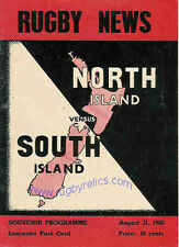 NORTH ISLAND v SOUTH ISLAND, NZ 31 Aug 1968 RUGBY PROGRAMME at CHRISTCHURCH