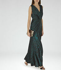 New REISS green printed maxi dress, model BEBE Size UK8  RRP £250
