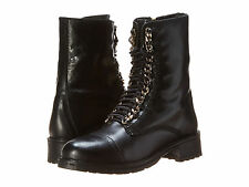 NEW STEVE MADDEN $130 BLACK LEATHER 2 CHAIN COMBAT BOOTS SZ 7