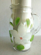 Vintage 32 Ounce Juice Pitcher with Ice Lip and Cold-Painted Flower