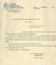 Documento Autografo di Mario Giani Fondatore Opera Nazionale Dopolavoro 1925