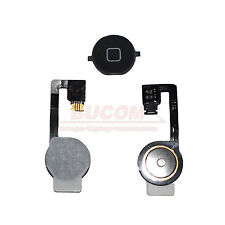 para iPhone 4S Home Button Homebutton Tecla Botón con cable flex Negro mate