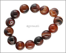 14 Red Brown Striped Agate Round Beads 14mm #54088