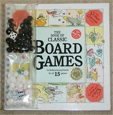 BOOK OF CLASSIC BOARD GAMES ~ PLAYING BOARDS FOR 15 GAMES + DICE & PLAYING PCS