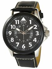 Omax Men's Quartz Watch Black Silver Analogue Metal Leather W-50742428679899