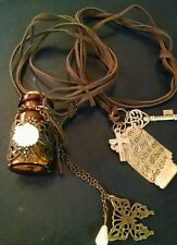 lot 2 leather necklaces hipster teens message bottle charms cross