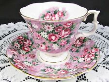 ROYAL ALBERT GARDEN PARTY GAY DAY PINK FLORAL CHINTZ TEA CUP AND SAUCER