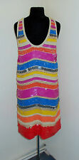FABULOUS FRENCH VINTAGE 1970s RAINBOW SEQUIN AND BEADED DISCO  DRESS UK 10 / 12