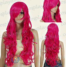 33 inch Hi_Temp Series Hot Rose Pink Curly wavy Long Cosplay DNA Wigs 967HRP