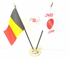 Belgio & Tokyo Giappone Olimpiadi 2020 Amicizia Da Scrivania Bandiere & 59mm