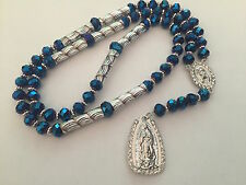 Our Lady of Guadalupe Silver Blue Rosary Necklace Virgen Rosario Sinaloense Azul
