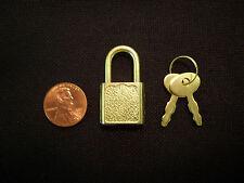 (3) Mini Small Metal Padlock BRASS Tiny Box Travel Lock Keyed Jewelry 2 Key 20mm