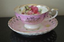 Vintage Pink Lusterware L M Royal Halsey Cup & Lefton Saucer Flower snowflake #I