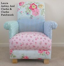 Laura Ashley Patchwork Fabric Adult Chair Pink Blue Gingham Floral Duck Egg Spot