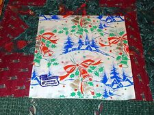 VTG CHRISTMAS WRAPPING PAPER GIFT WRAP CHURCH BELL SMART BRAND 2 SHEETS 1940 WW2