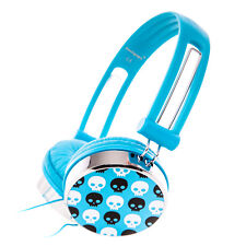 Blue Boys Girls Childs Kids Skull Over-Ear DJ Style Headphones Earphones 3.5mm